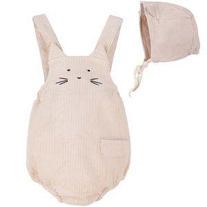 Newborn Baby Corduroy Overall Cat Romper Beige